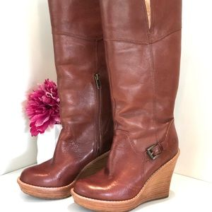 UGG Cognac Leather Wedge Boots 5.5